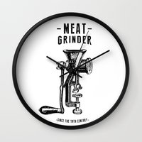 meat Wall Clocks featuring Meat Grinder by UiNi