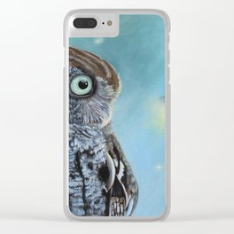 Owl and Lightning Bugs Clear iPhone Case