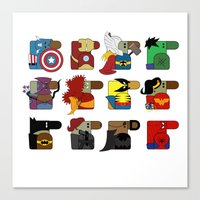 super heroes Canvas Prints featuring Super Heroes by nobleplatypus