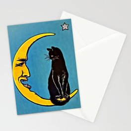 Black Cat & Moon Stationery Cards