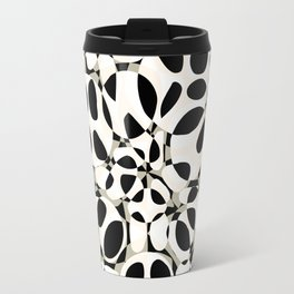 black and white circles in squares Travel Mug