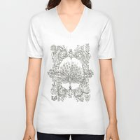 military V-neck T-shirts featuring Military Peacock by Vicki Jones