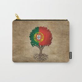Vintage Tree of Life with Flag of Portugal Carry-All Pouch