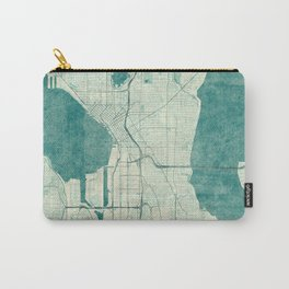 Seattle Map Blue Vintage Carry-All Pouch