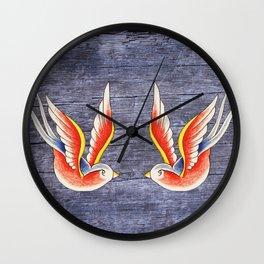 Red Swallows Wall Clock