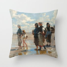 Setting Out to Fish Oil Painting by John Singer Sargent Throw Pillow