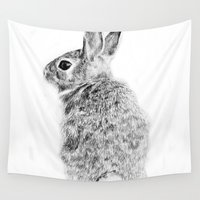 rabbit Wall Tapestries featuring Rabbit by Anna Shell