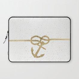 Elegant faux gold white nautical knot anchor watercolor splatters Laptop Sleeve