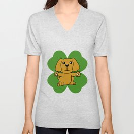 Dog On Four Leaf Clover- St. Patricks Day Funny Unisex V-Neck