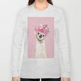 Llama with Flower Crown Long Sleeve T-shirt