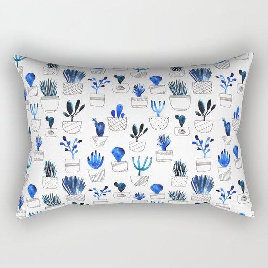 Blue cacti Rectangular Pillow