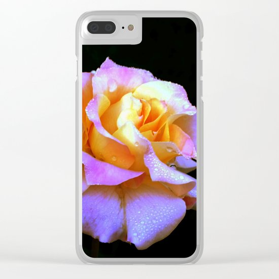 Pink And Gold Rose Clear iPhone Case