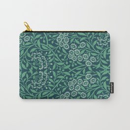 Teal Flowers Carry-All Pouch