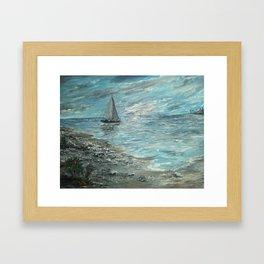 Solo Sailing for Seashells Framed Art Print