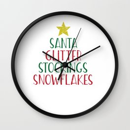 Glitter and Santa and Stockings and Snowflakes Design for Christmas Lovers Wall Clock