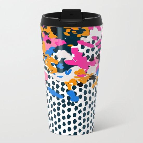 Kenzi - abstract painting minimal hot pink blue dots color palette boho hipster decor nursery Metal Travel Mug