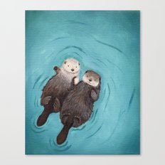 Otterly Romantic - Otters Holding Hands Canvas Print