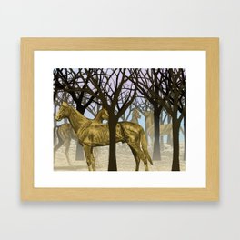 Golden Horses in the Trees Framed Art Print