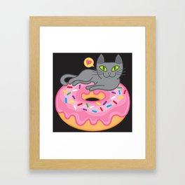 My cat loves donuts 2 Framed Art Print