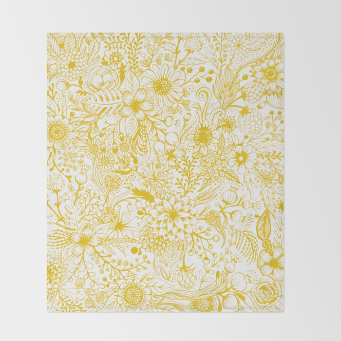 Yellow Floral Doodles Throw Blanket