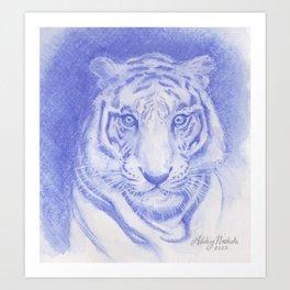 Blue Tiger Watercolor Art Print