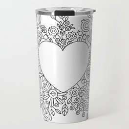 Flourishing Heart Adult Coloring Illustration, Heart and Flowers Wreath Travel Mug