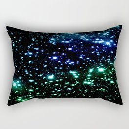 Brilliant Blue Green Galaxy Space Stars Rectangular Pillow