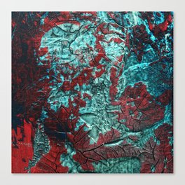 Closer // acrylic texture painting, red & teal Canvas Print