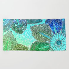 Aqua Green and Blue Glitter Flowers on #Society6 Beach Towel