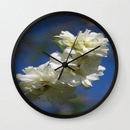 Deutzia Cream Petals Against Blue Sky Wall Clock