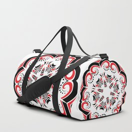 Floral Black and Red Round Ornament Duffle Bag