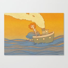 She landed on a passing by boat that took her to a little island Canvas Print