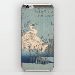 Egret in Iris and Grasses, Hiroshige iPhone Skin