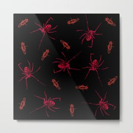 Neon spider and fly Metal Print