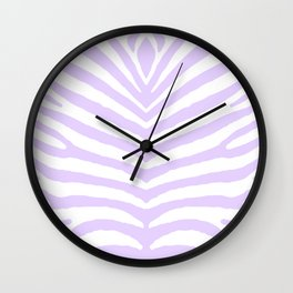 White and Lilac Zebra Safari Stripes Wall Clock