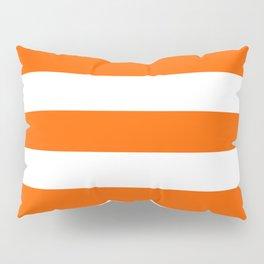 Maximum orange - solid color - white stripes pattern Pillow Sham