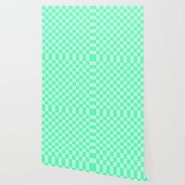Mint Green Check Wallpaper