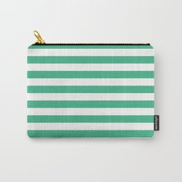 Horizontal Stripes (Mint/White) Carry-All Pouch