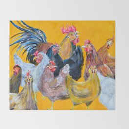 Chickens of Many Colors Throw Blanket
