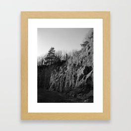 Sunset Quarry Black & White Framed Art Print