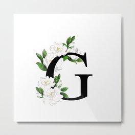 Letter 'G' Gardenia Flower Monogram Metal Print