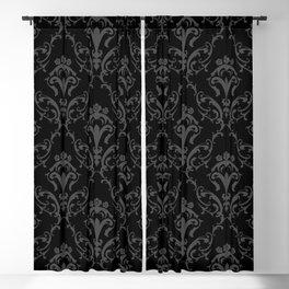 Vintage Elegant Black Damask Victorian Symbol Flowers Pattern Cottage Home Decor Blackout Curtain