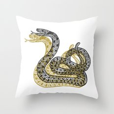 Snake (Black/Gold) Throw Pillow