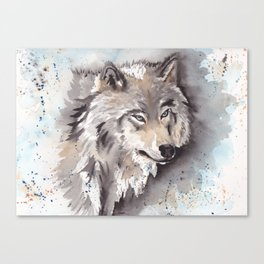 Wolf Watercolor Painting Canvas Print
