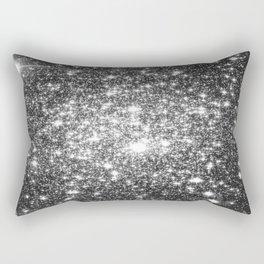 Black Slate Sparkle Stars Rectangular Pillow