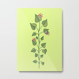 Cute Bugs Eat Green Plant Nature Lover Metal Print