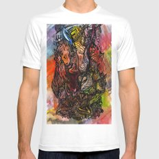 Watercolor Illusion  White Mens Fitted Tee MEDIUM