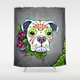 Boxer in White- Day of the Dead Sugar Skull Dog Shower Curtain