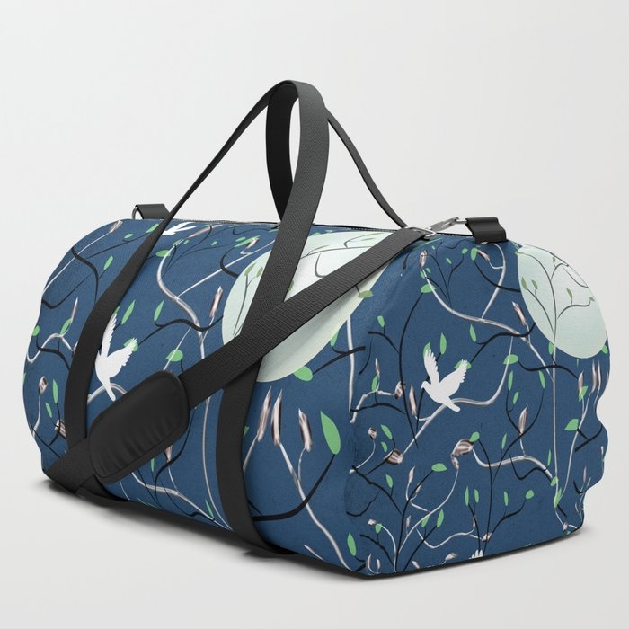 Art Nouveau Moon with Doves (Blue and Silver) Duffle Bag