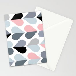 Love and Kisses in Pink and Grey Stationery Cards